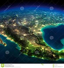 World Map At Night by Night Earth A Piece Of North America Mexico Stock Illustration