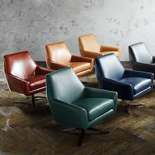swivel leather chairs living room lucas leather swivel base chair west elm