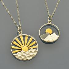 charm chains necklace images Sunrise charm necklaces big and small mixed metal mountain jpg