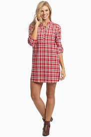 red plaid flannel maternity dress tunic