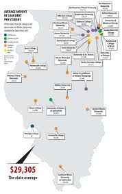 Illinois Interstate Map by Midwestern Universities And Average College Debt Load In Other