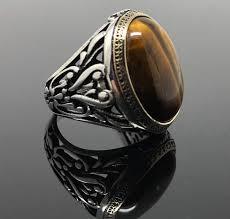 mens rings with images Handmade 925 sterling silver tiger 39 s eye filigree men 39 s ring jpg