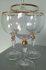 Wine Goblets Vintage Wine Glasses Gilded Gold Ball Stem Set Of Four Vintage