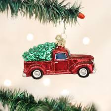 amazon com old world christmas truck with tree glass blown