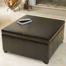 burlington brown leather storage ottoman hayneedle