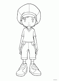 printable handsome boy in jean shirt and cap for coloring didi