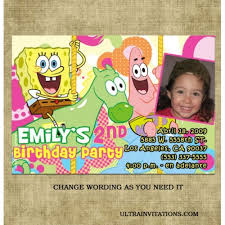 spongebob squarepants birthday invitations pink girls printable