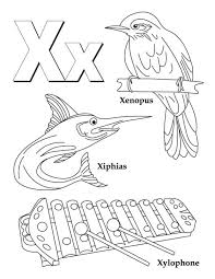 words of x alphabet coloring pages alphabet coloring pages of