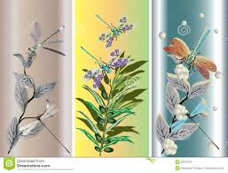 three strips with dragonflies and flowers stock vector image