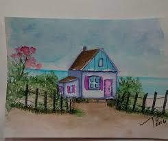 Cottage By The Beach by Art Impressions Ai Wonderful Water Color Cottage By The Beach