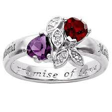engagement rings with birthstones sterling silver couples name and birthstone hearts and