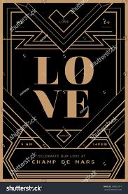 art deco border wedding invitation template stock vector 248627341
