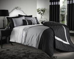 White Bed Set King Bedroom Black And Silver Duvet Cover With Silver Line Accent