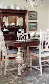 Antique White Dining Room Furniture Dining Table Makeover With Java Gel Stain And Antique White At