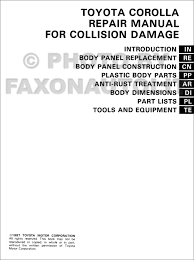 1988 1992 toyota corolla body collision manual factory reprint