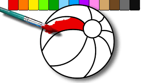 colouring a beach ball coloring page for kids to learn colors and