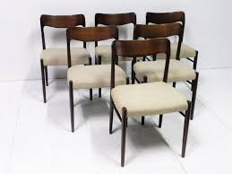 mid century scandinavian mahogany and beige wool side chairs set