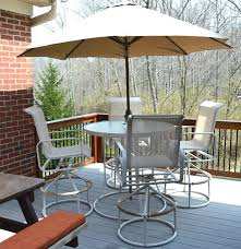 Patio High Top Tables And Chairs High Top Outdoor Suncoast Table And Chair Set With Umbrella Ebth