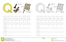 tracing worksheet for letter q stock vector image 62840234