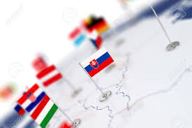 Flags Of Countries Slovakia Flag In The Focus Europe Map With Countries Flags
