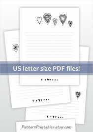 printable lined writing paper printable lined letter writing paper simple black and white printable lined letter writing paper cute black and white doodle hearts design digital download