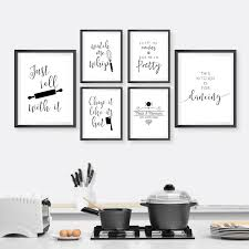black and white kitchen framed pictures kitchen typography wall canvas painting black white minimalist quotes posters and prints wall pictures kitchen decoration
