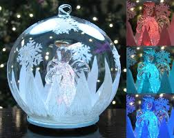Christmas Ornament With Photo Amazon Com Led Glass Globe Christmas Tree Ornament With Angel
