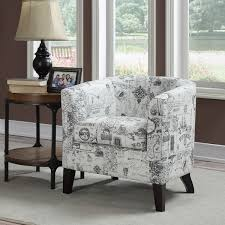 Barrel Accent Chair White Barrel Back Accent Chair With Printed Script Fabric