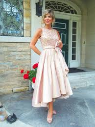 high low mother of the bride dresses 2017 jewel draped sequined