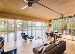 beautiful prefab cabin in quebec made out of wood panels home