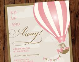air balloon baby shower invitation up up and away baby