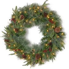 pre lit wreath colonial 24inch feel real pre lit christmas garland 60cm
