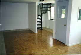 remodel basement house design with brown epoxy floor paint and