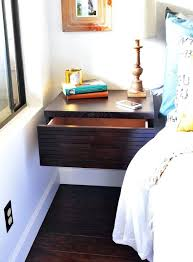 custom low profile king bed frame made from wood and wall mounted