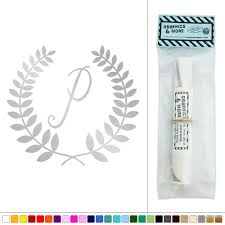 Silver Letters Home Decor by Letter P Monogram Calligraphy Laurel Wreath Vinyl Sticker Decal