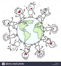 happy unite people together around the globe celebrate the earth