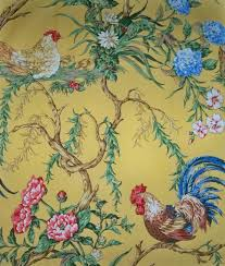 french country rooster fabric u0027chanticleer u0027 by scalamandre