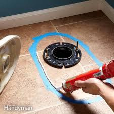 Caulking Bathroom Floor How To Caulk A Toilet To A Floor Family Handyman