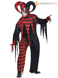 mens evil jester joker costume killer clown fancy dress costume