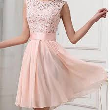 light pink lace simple chiffon casual teen homecoming prom dress