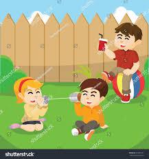 kids playing backyard stock vector 525835291 shutterstock
