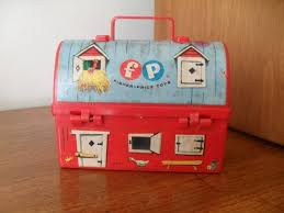 Toy Barn With Farm Animals Vintage Miniature Fisher Price Toys Barn Lunchbox 60s Red Plastic