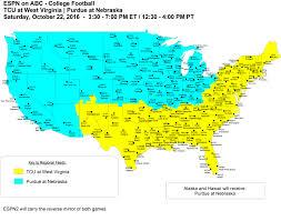 Tcu Map Wvu Tcu Coverage Map Of Abc Vs Espn2 3 30 Sat