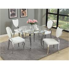 Glass And Chrome Dining Table Letty Gl48 T Chintaly Imports Furniture Letty Dinette Table