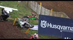 motocross race videos rider takes motorcycle to the head after winning motocross race