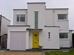 architecture art deco homes in white theme mixed with yellow door