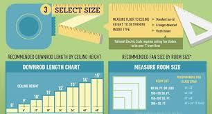 fan room size chart ceiling fan downrod guide light ideas light ideas