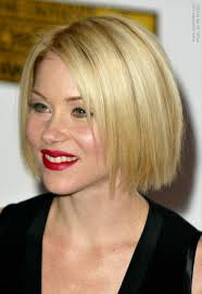 mid lenth beveled haircuts christina applegate wearing her hair in a classic bob at chin length