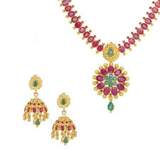 emerald gemstone necklace images 22k ruby emerald necklace set raj jewels jpg