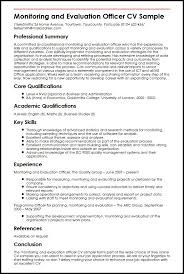 Sample Resume Skills And Qualifications by Monitoring And Evaluation Officer Cv Sample Myperfectcv